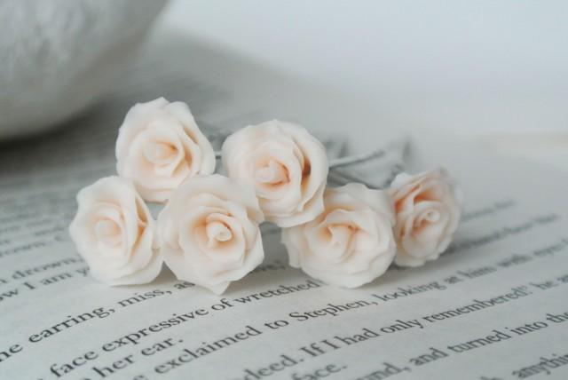 White Garden Rose Hair sale ivory rose hair pin set of 6, blossom hair accessories