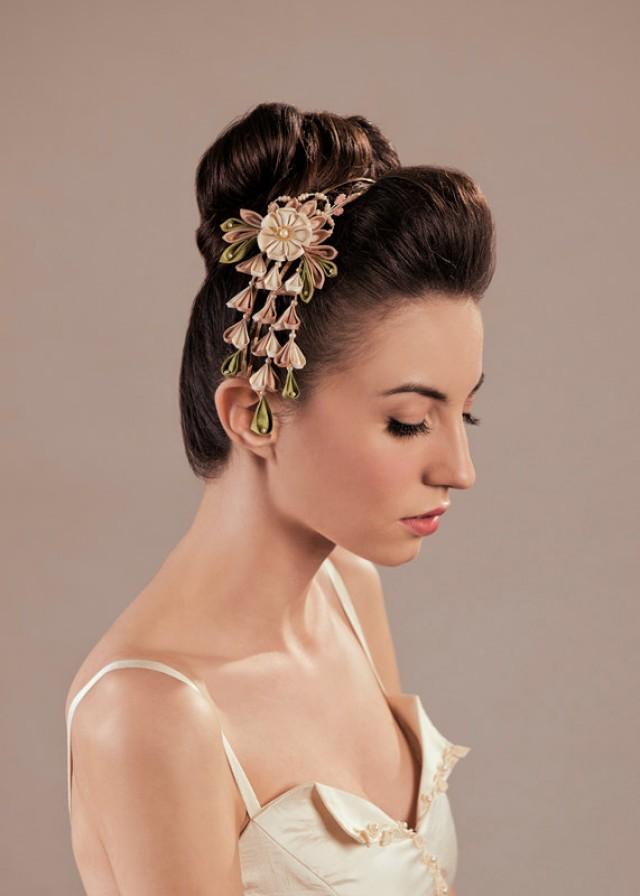 ume silk flowers bridal blush headpiece kanzashi headband
