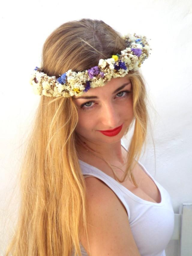Real Flower Bridal Hair Accessories : White flower crown wedding hair accessories real dried
