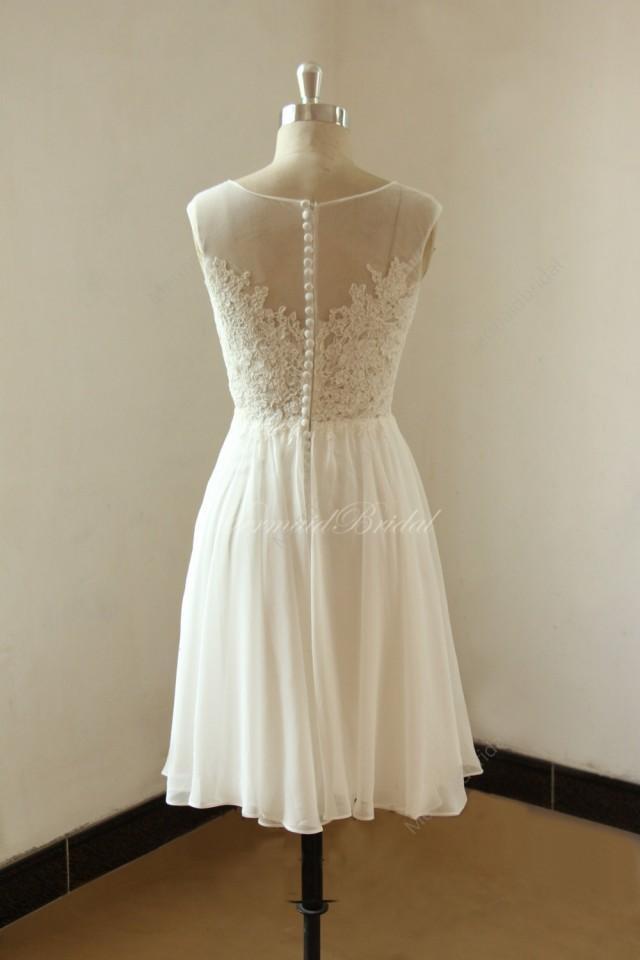Ivory short knee length lace chiffon wedding dress with for Ivory knee length wedding dresses