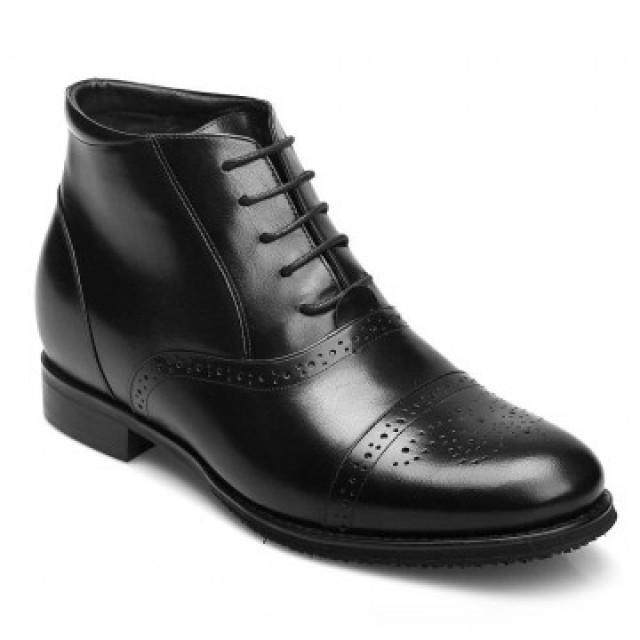 wedding photo - Choose2015 New Fashion Men Calfskin Leather Black Elevator Boots Height Increasing 7CM Shoes is best choice for you.