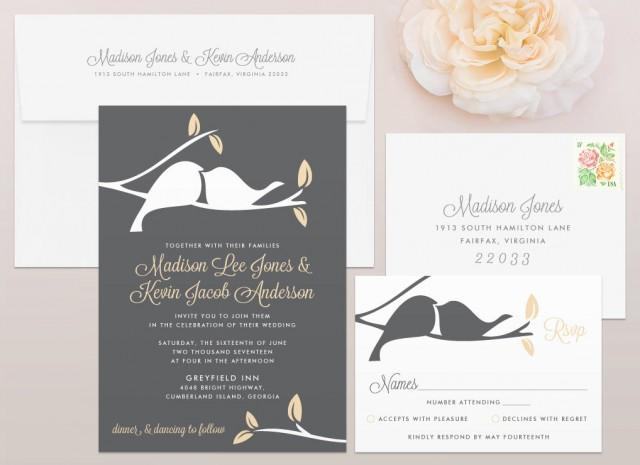 Love birds wedding invitation rsvp set calligraphy