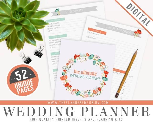Printable Wedding Planner Binder Planning A Rustic: Ultimate Wedding Planner Organizer Kit