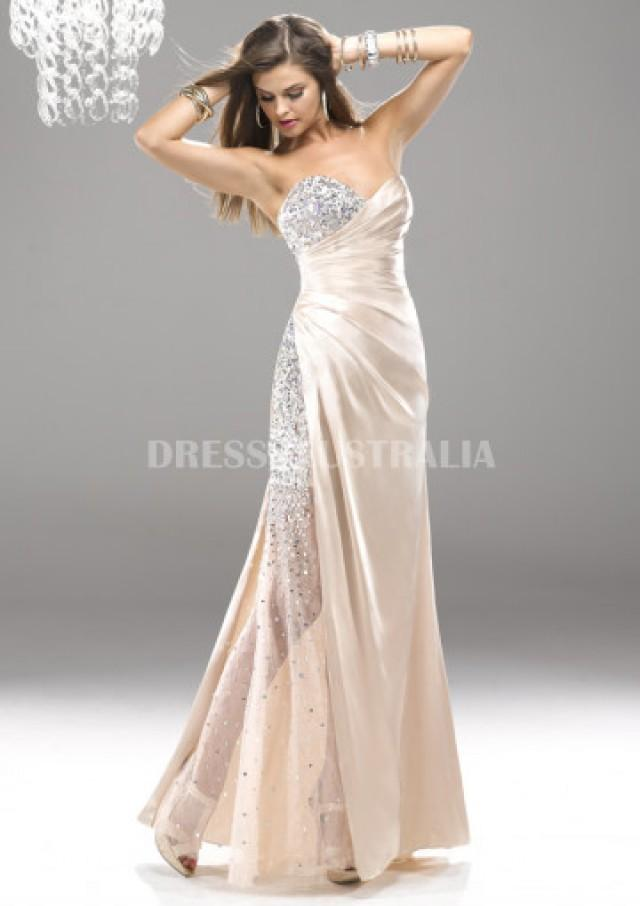wedding photo - Buy Australia Sequins Champagne Scattered Sequins Elastic Woven Satin Bodice Evening Dress/ Prom Dresseins By FIT P4759 at AU$189.62 - Dress4Australia.com.au