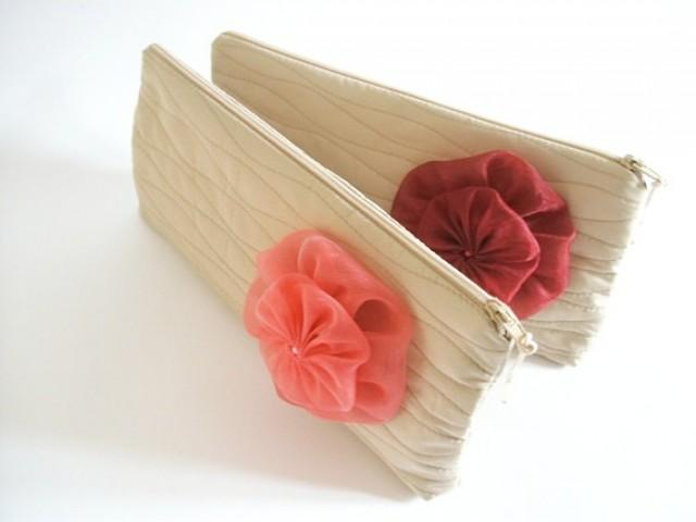 Hawaii Inspired Sand Wedding Clutch Coral Red Wedding Flower On Clutch Beach Wedding Clutch ...