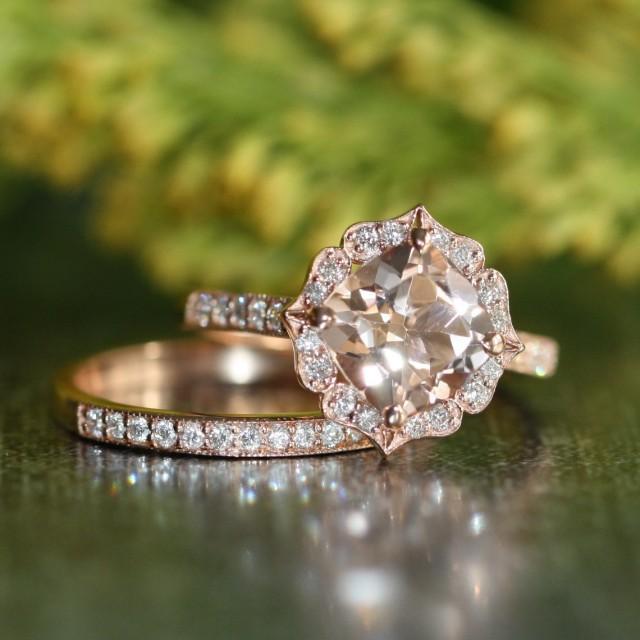 Vintage Floral Morganite Engagement Ring Diamond Wedding Band Bridal Set In 14k Rose Gold 8x8mm