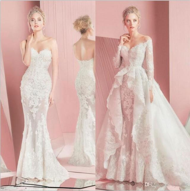 Zuhair Murad Mermaid Wedding Dresses 2015 Sweetheart Neck Wedding Gowns With Long Sleeves