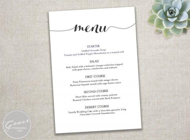 Printable black menu template calligraphy style script for Easy menu templates free