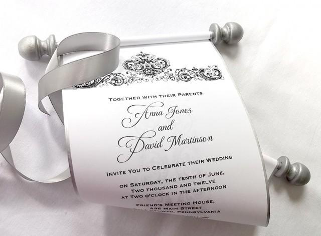 Diy Scroll Wedding Invitations: Elegant Winter Wedding Invitation Scroll, Black And Silver