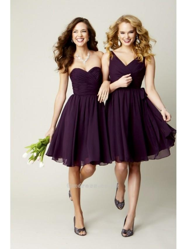 wedding photo - A Line Mutiple Style Knee Length Chiffon Bridesmaid DressSKU: BM000187
