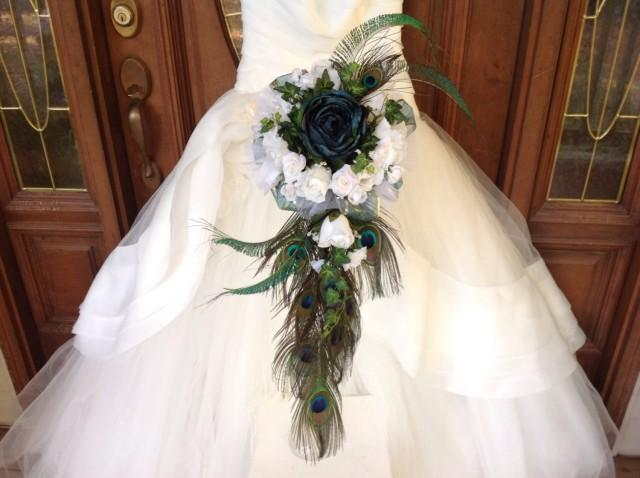 White Wedding Bouquets With Peacock Feathers : Cascading peacock bouquet teal bridal