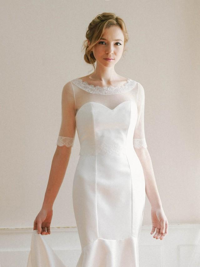 Wedding tulle top boatneck bridal topper lace top for Cover up wedding dress