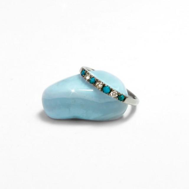 eternity wedding ring with diamonds and turquoise 14k