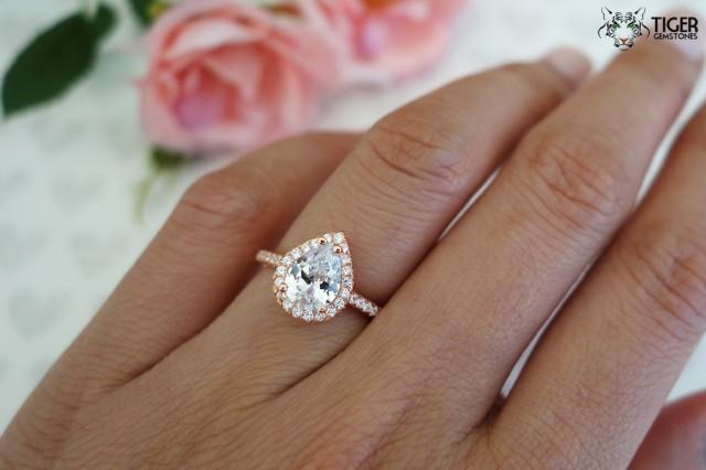 15 carat pear cut halo engagement ring flawless man made diamond simulants wedding ring bridal ring sterling silver rose gold plated 2426251 - Teardrop Wedding Rings