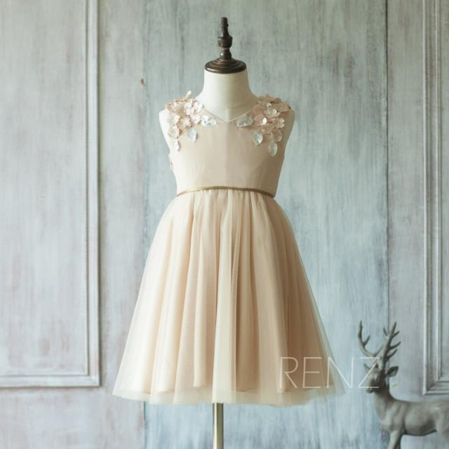 2015 champagne flower girl dress junior bridesmaid dress for Flowers for champagne wedding dress