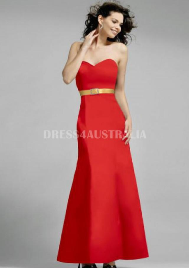 wedding photo - Buy Australia Modest Mermaid Red Sweetheart Neckline with Gold Ribbon Accent Long Satin Bridesmaid Dresses for Winter by Alexia S010 at AU$152.59 - Dress4Australia.com.au
