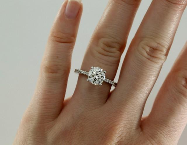 7.5mm Moissanite Engagement Ring With Diamonds, Solitaire ...