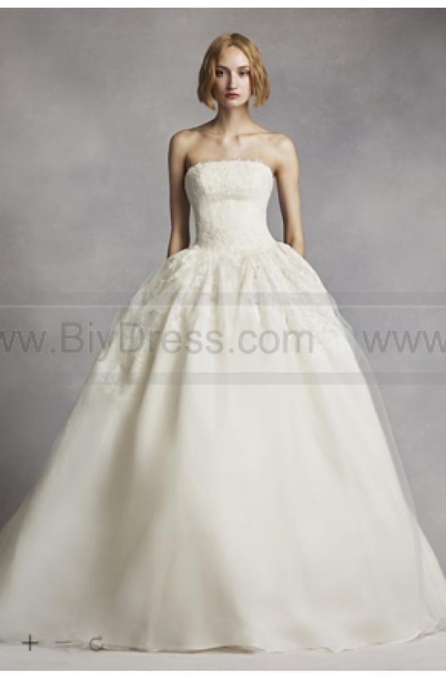 7e15b23b42af White by Vera Wang Twill Gazar Lace Wedding Dress VW351088