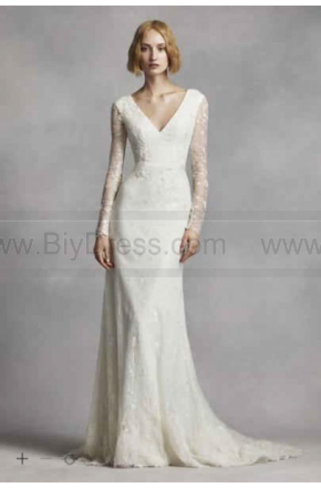New white by vera wang long sleeve lace wedding dress for Modern long sleeve wedding dresses