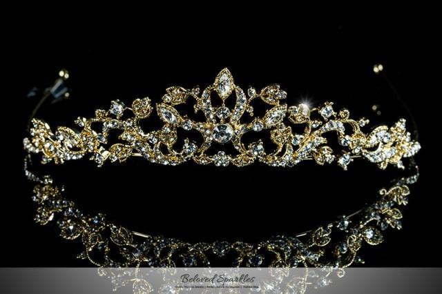 Bridal Gold Tiara, Bridal Crystal Tiara, Swarovski Crystal Tiara, Bridal Tiara, Rhinestone Tiara, Floral Tiara, Vintage Tiara, Wedding Tiara 2427007 ,