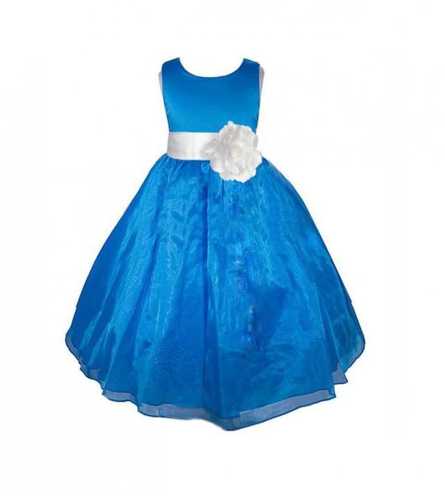 Royal Blue Flower Girl Dress Sash Pageant Organza Wedding Bridal ...