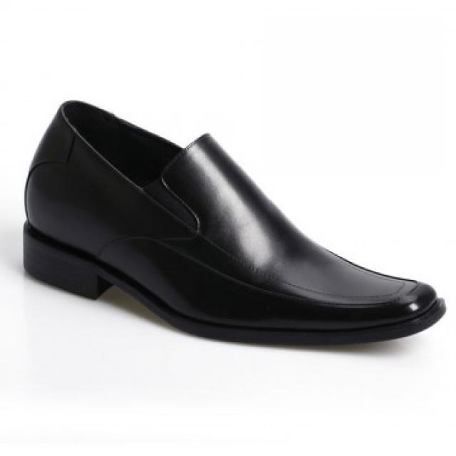 wedding photo - Hot Sale Formal Business Men Dress Black Loafers Soft Cow Leather Elevator Shoes