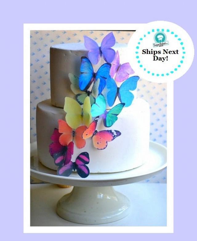 Vintage Rainbow Cake Decoration Edible : Wedding Cake Topper The Original EDIBLE BUTTERFLIES ...