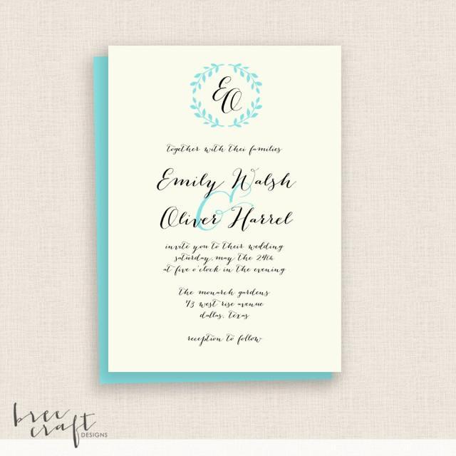 Calligraphy wreath diy printable wedding invitation