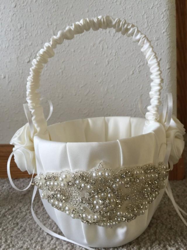 Flower Girl Basket Modern : Sale beautiful ivory flower girl basket rhinestone