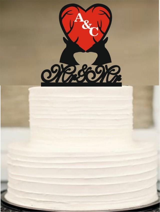 wedding photo - Same Sex Cake Topper,Rustic Wedding Cake Topper,Mr and Mr Cake Topper,Gay Cake Topper,Deer Antlers Cake Topper,Rustic Wedding cake topper