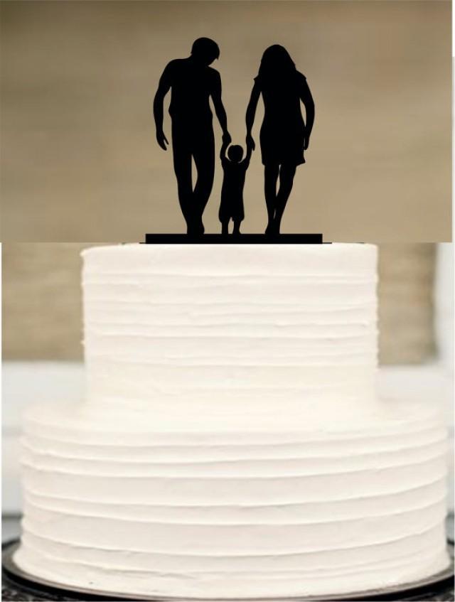 wedding photo - Silhouette Wedding Cake Topper, funny Wedding Cake Topper, Bride and Groom and little boy family wedding cake topper,Rustic cake topper