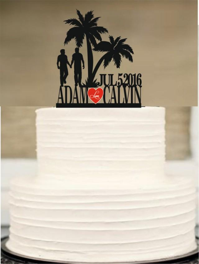 wedding photo - Gay wedding cake topper, same sex MR and MR wedding cake topper silhouette, unique wedding cake topper, initial wedding cake topper