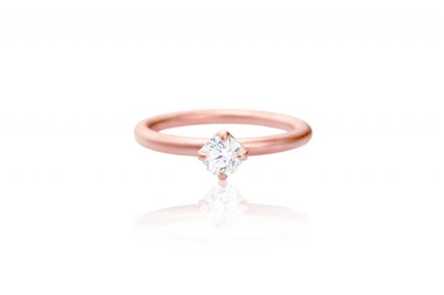 gold solitaire engagement ring 14k eco friendly