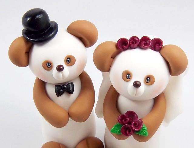Pandas Wedding Cake Topper  Custom Made Panda Bear