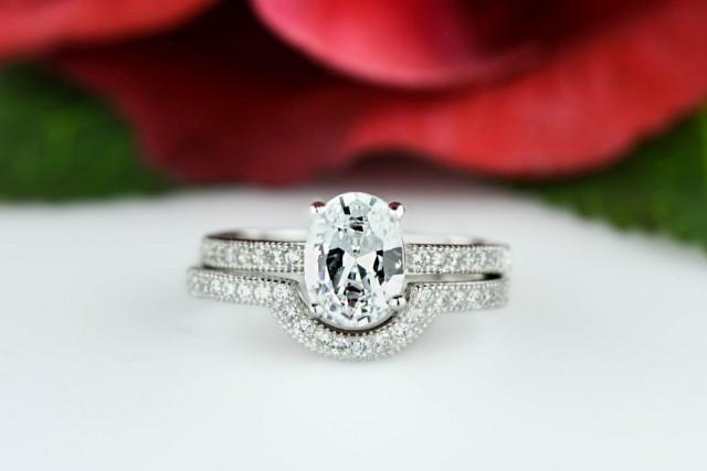 15 Ctw Oval Engagement Ring Wedding Band Pave Set Flawless Man Made Diamond Simulants