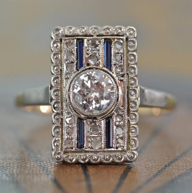 Art Deco Diamond Ring Unique Engagement Ring Antique Diamond Sapphire Engag