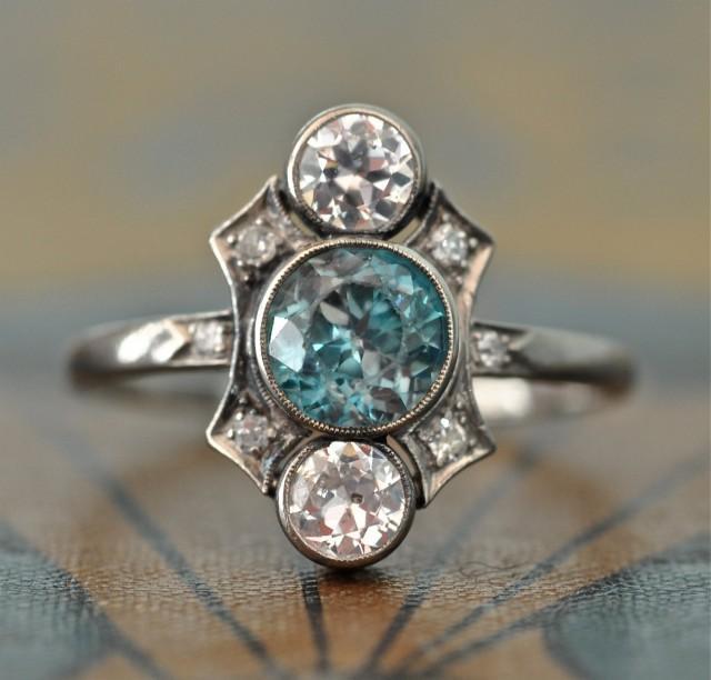 Art Deco Unique Diamond Wedding Ring 14k Two Tone Gold: Art Deco Engagement Ring-Unique Engagement Ring -Blue