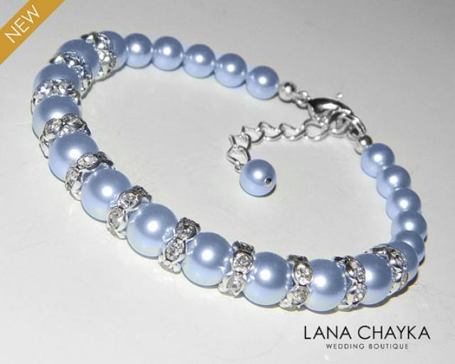 Blue pearl bracelet : Light blue pearl bracelet wedding