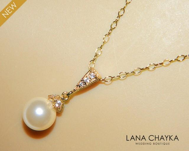 ivory pearl gold bridal necklace single pearl gold