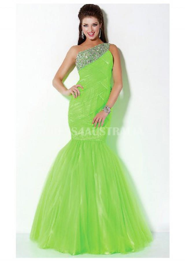 wedding photo - Buy Australia Lime Green Mermaid/ Turmpet Tulle Long Evening Dress/ Prom Dresses By JIGowns JO-30002 at AU$168.30 - Dress4Australia.com.au