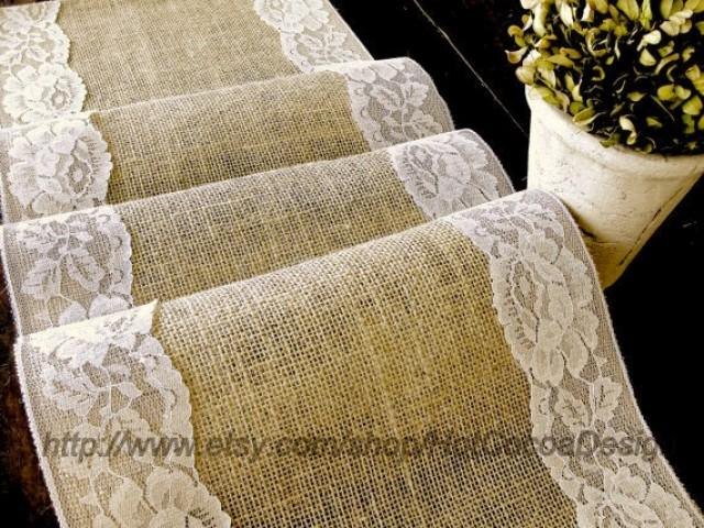 country wedding table runner burlap and lace wedding rustic table linens bridal shower party handmade in the usa weddbook