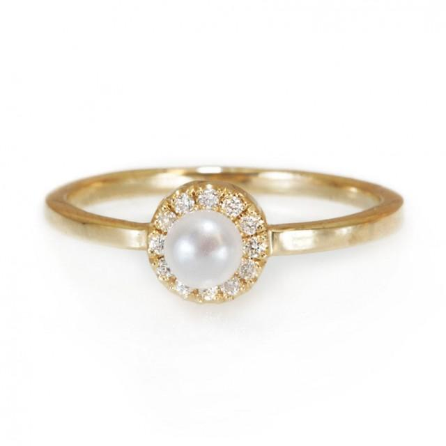 mini pearl engagement ring halo ring 14k gold