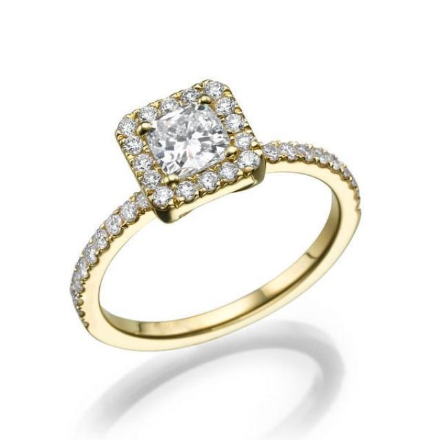 1 27 tcw princess cut ring halo engagement ring 14k gold