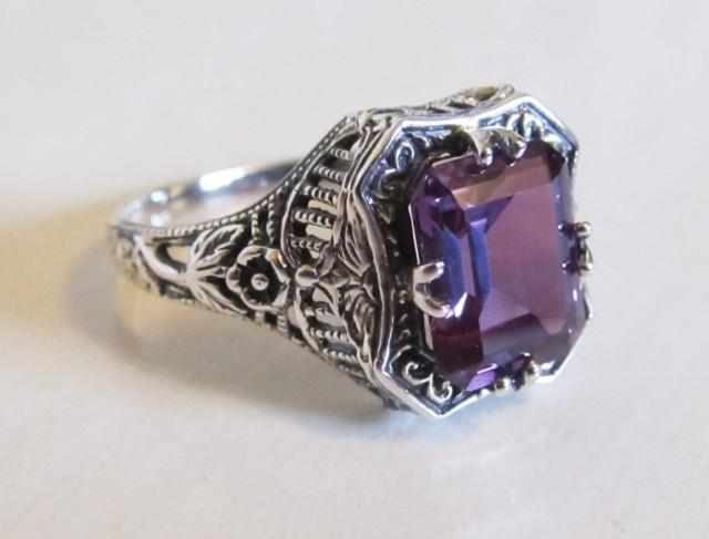Alexandrite Victorian Style Filigree Engagement Ring