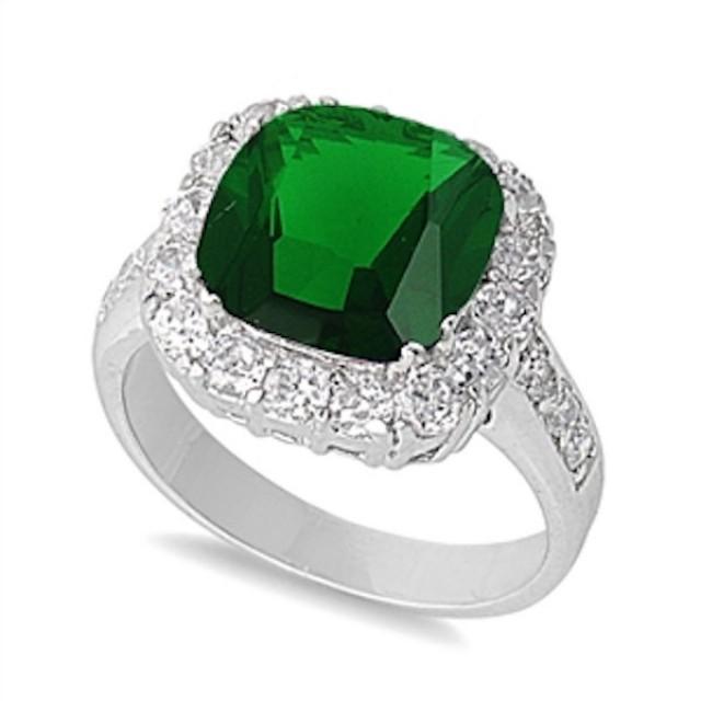 Solid 925 Sterling Silver 5.20 Carat Cushion Cut Emerald