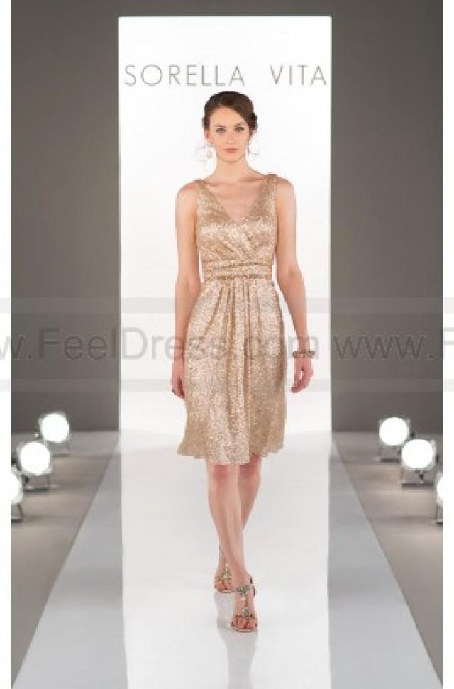 wedding photo - Sorella Vita Gold Bridesmaid Dress Style 8685