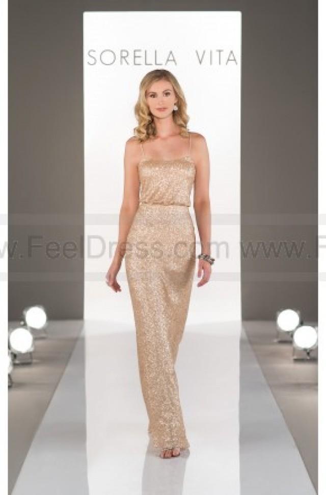 wedding photo - Sorella Vita Gold Sequin Bridesmaid Dress Style 8690