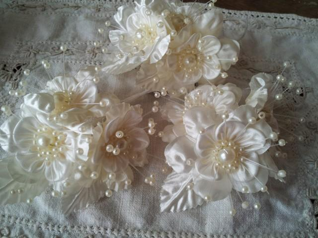 Ivory fabric flowers picks satin ivory wedding floral for Wedding craft supplies