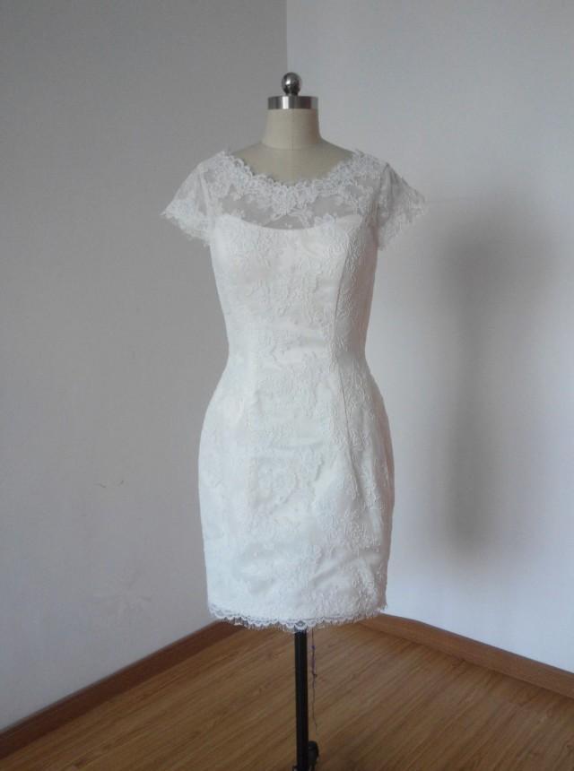 Sheath cap sleeves v back ivory lace short wedding for Short lace sheath wedding dress
