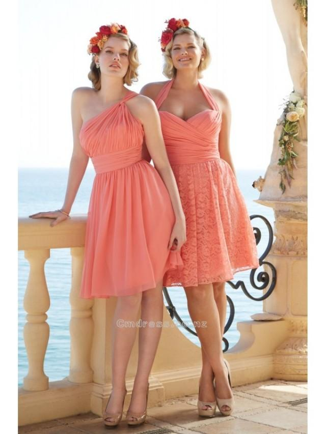 wedding photo - A Line One Shoulder Chiffon Mini Length Bridesmaid DressesSKU: BM602-WT